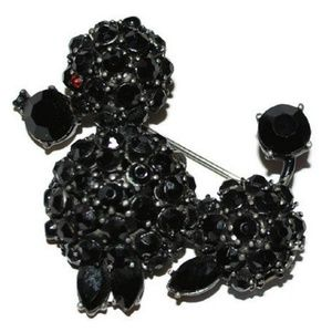 Vintage Black Rhinestone French Poodle Brooch